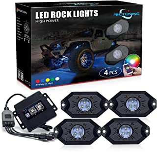 MICTUNING RGB LED Rock Lights with Upgraded APP Bluetooth Controller, Timing Function, Music Mode - 4 Pods Multicolor Neon...