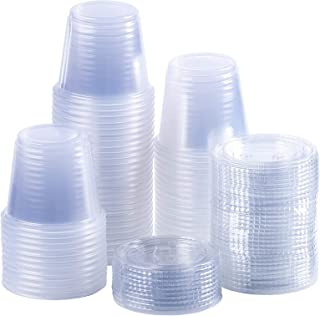 TashiBox 5 oz Disposable Portion Cups Souffle Cups With Lids, Set of 100, Jello shot cups, Souffle cups, Sampling cups, Condiment Containers