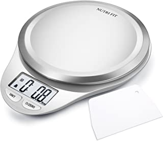 Digital Kitchen Scale with Dough Scraper, NUTRI FIT High Accuracy Multifunction Food Scale with LCD Display for Baking Kitchen Cooking,Tare & Auto Off Function (Snow White)