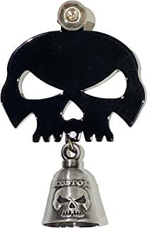 Kustom Cycle Parts Universal Gloss Black Skull Bell Hanger With Gun Metal Bell - Bolt and Ring Included. Fits all Harley Davidson Motorcycles & More! Proudly MADE IN THE USA! (Gun Metal)