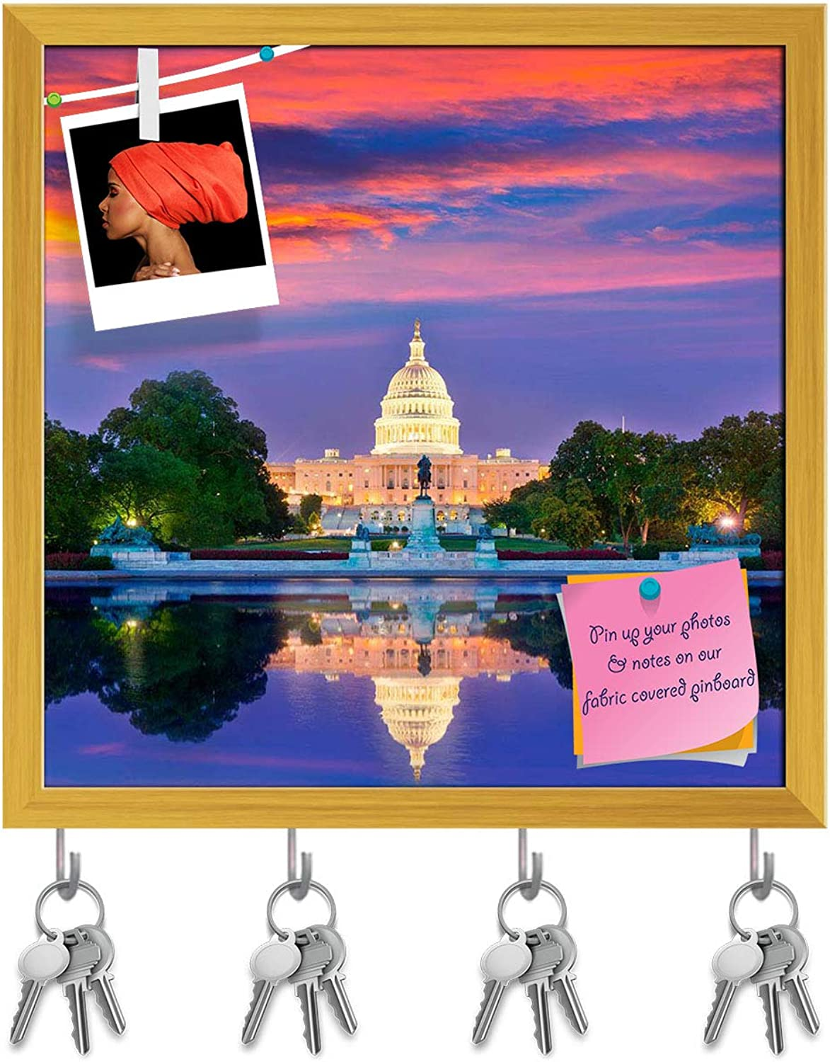 Artzfolio Capitol Building Sunset Congress, Washington Dc USA Key Holder Hooks   Notice Pin Board   golden Frame 6 X 6Inch