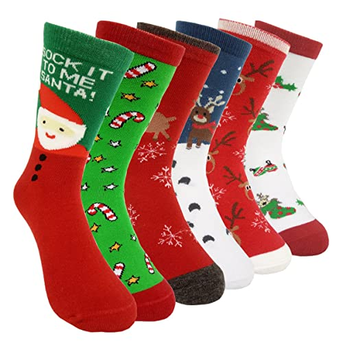 b30a5435c462e Womens Christmas Holiday Casual Socks - HSELL 6 Pairs Colorful Fun Cotton  Crew Socks for Novelty