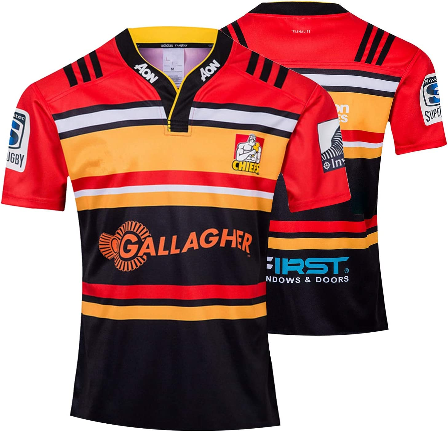 JIEBANG 2019 Exeter Chiefs Rugby Jersey,Chiefs Memorial Edition Short Sleeve Rugby T-shirt Polo Shirts,Mens Competition Training Football Jersey red-S