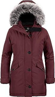 Wantdo معطف شتوي بقلنسوة للنساء مقاوم للماء دافئ طويل جاكيت باركا