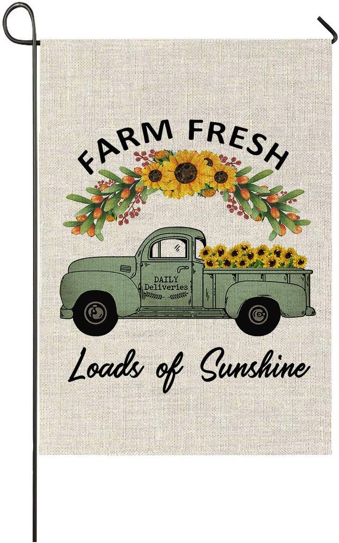 Faromily Vintage Truck With Sunflowers Garden Flag Vertical Double Sided Farm Fresh Loads Of Sunshine Burlap Garden Yard Lawn Outdoor Decoration 12 5 X 18 Inch Farm Fresh Sunflower Amazon Ca Patio Lawn