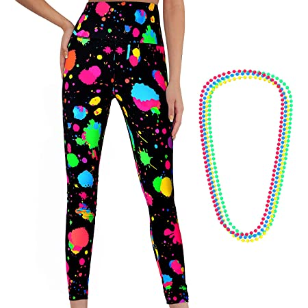 Neon High Waisted Women's Artistic Printed 80s Leggings Women's Yoga Running Soft Pants with 4 Pieces Neon Necklace