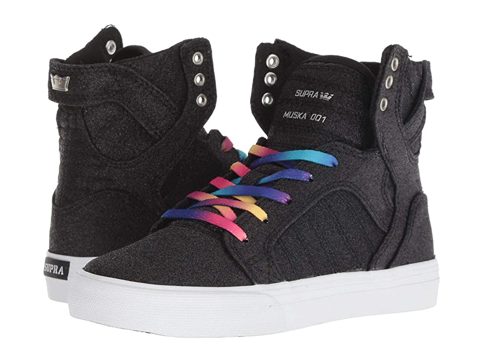Supra Kids Skytop (Little Kid/Big Kid) (Black Sparkle/White) Girls Shoes