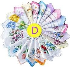 Dillian Womens Vintage Floral Wedding Party Cotton Handkerchiefs,10pcs