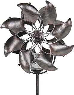 Exhart Bronze Flowers Double Windmill w/Solar-Powered Crackle Ball Yard Stake - Solar Flowers Pinwheel Metal Stake, Metal Flowers Wind Spinner, Kinetic Art Garden Spinner, 8