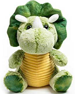 HollyHOME Plush Triceratops Dinosaur Cute Stuffed Animal Toy Soft Cuddly Doll for Kids Green 12 Inch