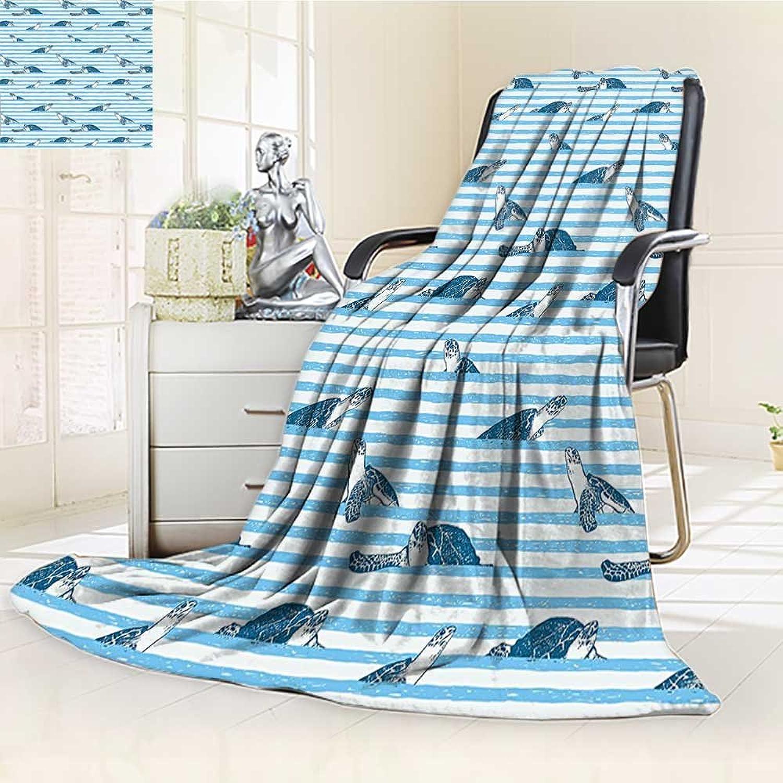 YOYI-HOME Digital Printing Duplex Printed Blanket bluee Stripes Art Print Aquatic Theme Caretta Ocean Animals Pattern bluee Navy Summer Quilt Comforter  W59 x H39.5