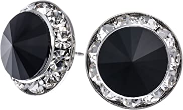 PammyJ Framed 15mm Round Black Crystal Earrings