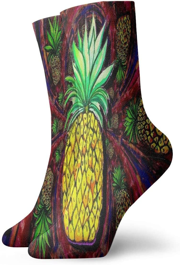 Unisex Casual Pineapple Socks Moisture Wicking Athletic Crew Socks