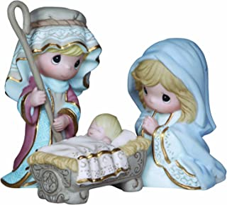 "Precious Moments, Christmas Gifts, ""Come Let Us Adore Him"", 3 Piece Nativity Set, Bisque Porcelain Figurines, #131062"