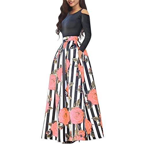 f7b29ce673f Women s One Two Pieces African Floral Print Maxi Dress A Line Long Skirt  with Pockets