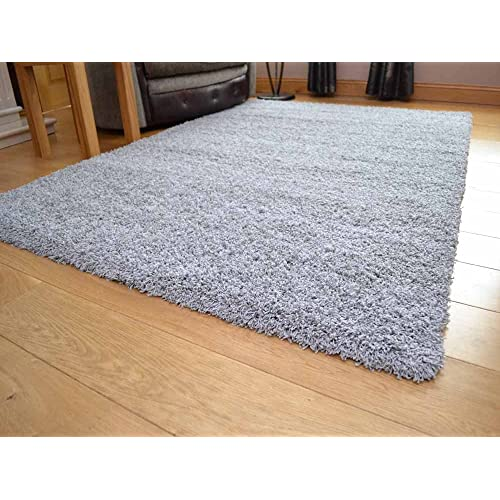Soft Touch Shaggy Silver Thick Luxurious Soft 5cm Dense Pile Rug. Available in 7 Sizes