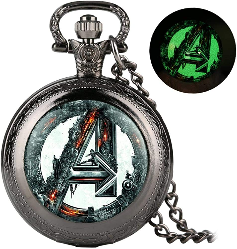 LEYUANA Retro Cool Luminous Theme Quartz Pocket Watch, Vintage Collar Fob Old Fashioned Men Women Colgante Relojes
