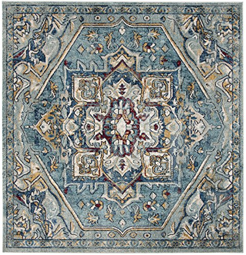 Safavieh Savannah Collection Premium Wool Square Area Rug, 7', Blue/Navy