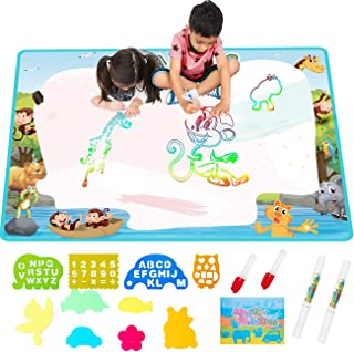 FREE TO FLY Extra Large Aqua Water Drawing MagicMat 2019 Updated Color Painting Doodle Board Aqua Doodle Magic Mat with No Mess, Educational Kid Toys Gift for Boys and Girls Age 3 4 5 6 7