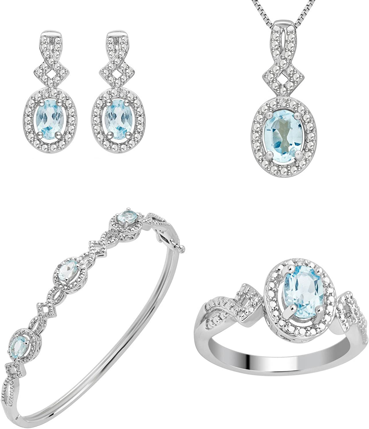Blue Topaz and Diamond Accent Ring, Earring, Pendant and Bangle 4 Piece Jewelry Set