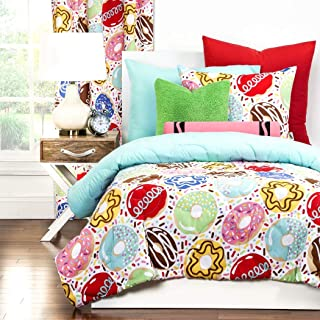 3 Piece Girls Sprinkle Doughnuts Swirl Theme Comforter Full Set, Cute Fun All Over Sweet Tooth Dessert Bedding, Kids Multi Color Doughnut Treats Themed Pattern, Pink Blue Red Yellow Green Brown White
