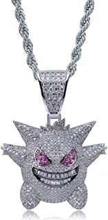 """KMASAL Jewelry Unisex Exquisite Bubble Gengar Pendant Hip Hop Iced Out Rhinestone Crystal Necklace 18K Gold Plated with 24"""" Stainless Rope Chain for Men Women"""