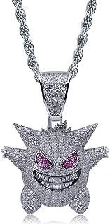 Moca Jewelry - Collana unisex con ciondolo a forma di Gengar in stile hip hop, placcata in oro 18 K, con catenina in corda...