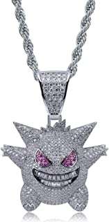 """Unisex Exquisite Bubble Gengar Pendant Hip Hop Iced Out Rhinestone Crystal Necklace 18K Gold Plated with 24"""" Stainless Rope Chain for Men Women"""