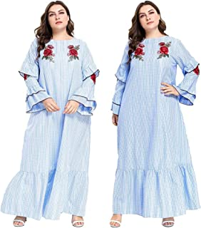 Ethnic Style Embroidery Floral Maxi Dress Muslim Women Abaya Party Long Robe Flare Ruffle Sleeve Casual Loose Gown New