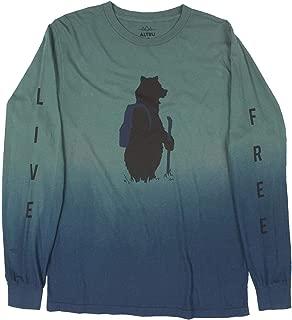 Bear on a Hike dip-dye Long Sleeve Men's Green Graphic tee Shirt