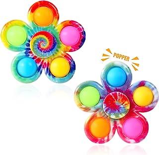Gigilli Pop Fidget Spinner 2 Pack, Push Tie Dye Simple Fidget Popper Spinners, Pop Bubble Fidget Toys Hand Spinner for ADH...