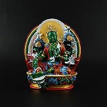 PPCP 11.5cm Delicate Resin Hand Plated Buddhist Suppliers Avalokitesvara Bodhisattva Green Tara Tibetan Figure Buddha Statue
