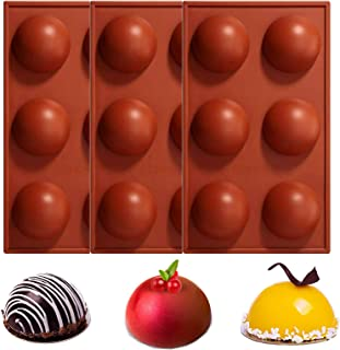 24HOCL Large 6 Holes Silicone Mold For Chocolate, Baking Mold for Making Hot Chocolate Bomb, Cake, Jelly, Dome Mousse, Bri...