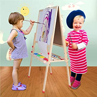Ejoyous Double Sided 3 in 1 Kids Easel with Magnetic Chalkboard & White Board, Height Adjustable Children Easel, Painting Drawing Art Easel for Children and Tollders with Accessories