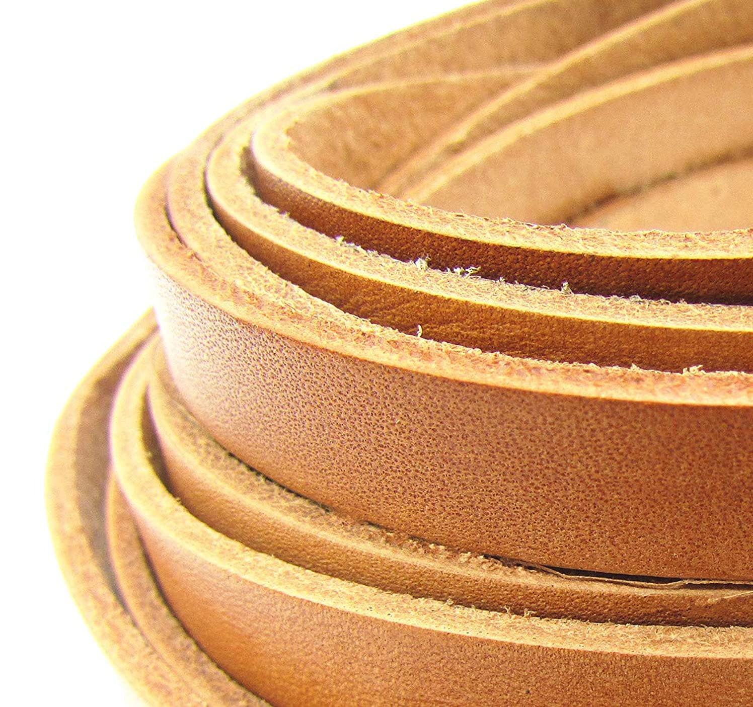 10x2mm Flat Genuine Leather Strip Cord DIY Rope Strings for Bracelet Necklace Jewelry Making 5 Meters (Natural)