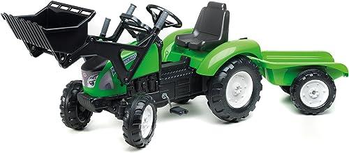 Falk Traktor für Kinder Größer Trettraktor mit Baggerschaufel und Anh er 3023AM