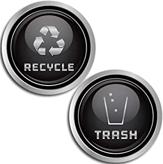 Recycle and Trash Logo Symbol (2.75 in x 2.75 in) - 7 Mil - Laminated - Elegant Look for Trash Cans, Containers, and Walls - Laminated Vinyl Decal