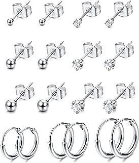 BESTEEL 12Paires Boucles d/'Oreilles Lot pour Femme Fille Homme 316L Acier Inoxydable Clou d/'Oreilles Piercing Pierre de Naissance CZ 4-6MM