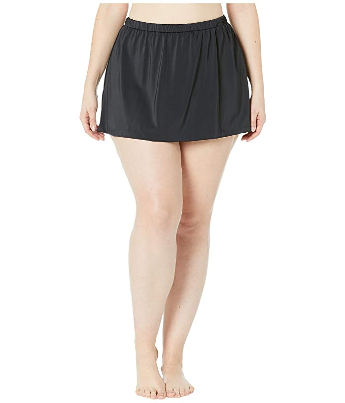 Maxine of Hollywood Swimwear Plus Size Solids Separate Skirted Pant Bottoms (Black) Women