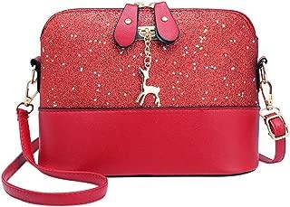 silverone Shell Shoulder Handbag Sequins Bag Handbag Purse Crossbody Messenger Bag with Deer Pandent/Red