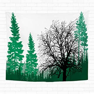 Topyee 60x80 Inch Tapestry Wall Hanging Illustration with Fir Forest Silhouettes is olated on Whitetree Silhouette Plant Home Decorative Tapestries Wall Blanket for Dorm Living Room Bedroom