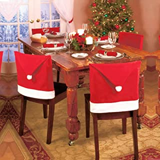 LOHOME 4-Pieces Christmas Chair Covers - Red Non-Woven Fabrics Santa Claus Hat Chair Back Covers for Xmas Decor
