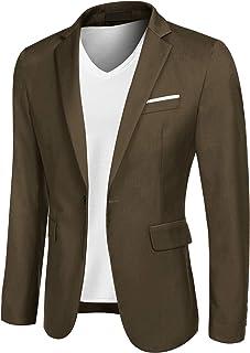 JINIDU Men's Casual Sport Coat Slim Fit Blazer Jacket One Button Suit Jacket