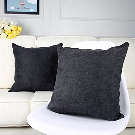 Top Finel Decorative Cotton Linen Throw Pillow Covers Square Cushions Solid Cushions Pillowcases Set for Sofa Bed Car 18 x 18 inch, Pack of 2, Black