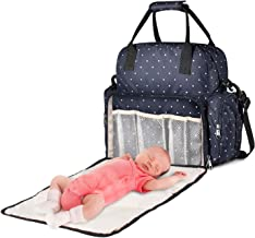 Large Diaper Bag, Chuntianli Baby Nappy Tote Bag Maternity Diaper Shoulder Bag Organizer Multi-Function Travel Backpack with Strap, Nappy Changing Pad, Insulated Pockets for Mom Dad Baby