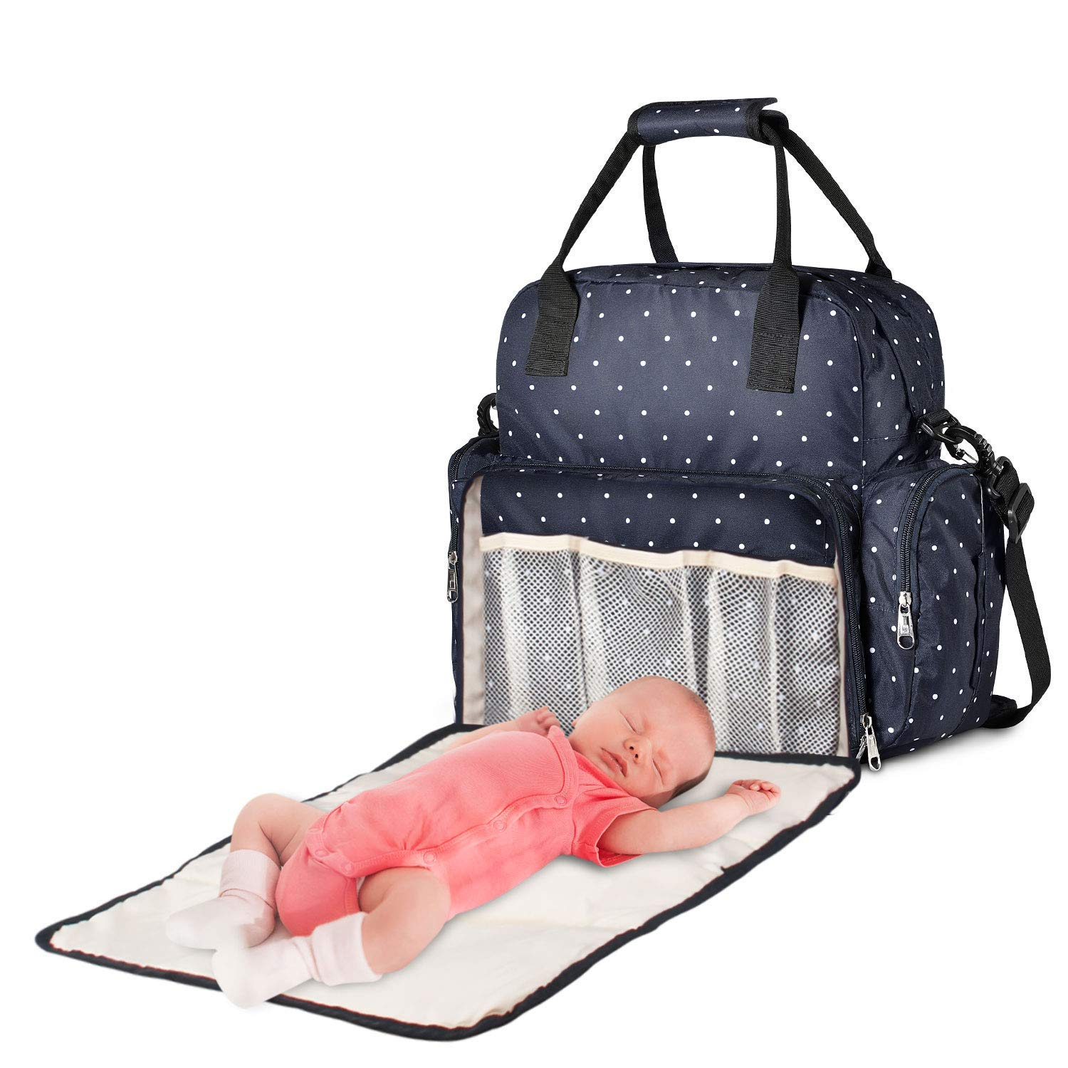 Diaper Bag Backpack, Baby Bag with Changing Pad, Waterproof Multifunction Nappy Bag,Maternity Travel Back Pack for Mom&Dad with Insulated Pockets Blue