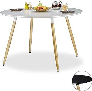 Relaxdays 75 x 120 cm Mesa Comedor Redonda Grande Arvid Mueble Cocina DM-Madera-Metal Blanco