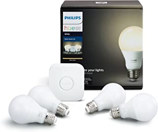 Philips Hue 472001 Hue W Code 1 LED Bulbs, 4 Starter Kit,...