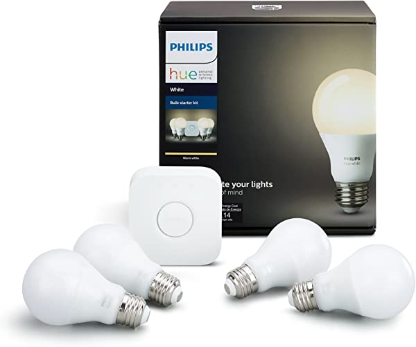 Philips Hue White A19 60W Equivalent LED Smart Bulb Starter Kit 4 A19 White Bulbs And 1 Hub Compatible With Amazon Alexa Apple HomeKit And Google Assistant