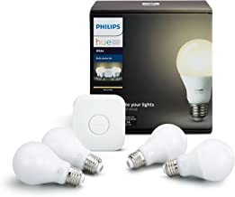 Philips Hue White A19 60W Equivalent LED Smart Bulb Starter Kit (4 A19 White Bulbs and 1 Hub Compatible with Amazon Alexa ...